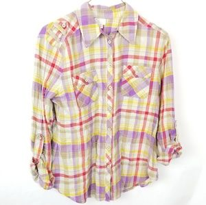 Anthropologie Postmark Pastel Plaid Button Up 6